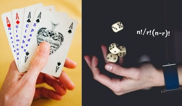 cards and dies in probability concept